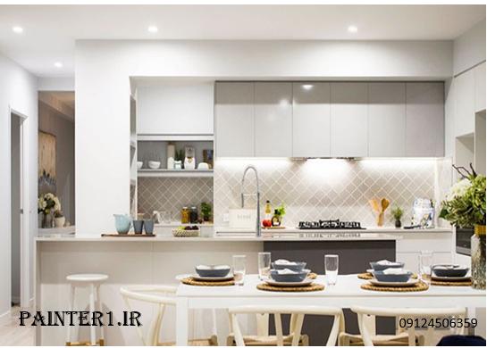 آشپز خانه ای به رنگ خاکستری